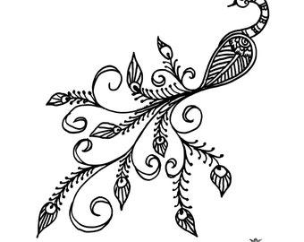 Boho Peacock, Peacock tattoo,  Henna style tattoo, festival tattoo, boho, Skin Art, Body Art, Wickedly Lovely Skin Art TemporaryTattoo