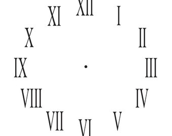 """Clock STENCIL**Roman Numerals Clock 11""""x11"""" diameter"""" for Painting/Making your own clock, Signs, Wood, Canvas, Fabric, Airbrush, Crafts"""