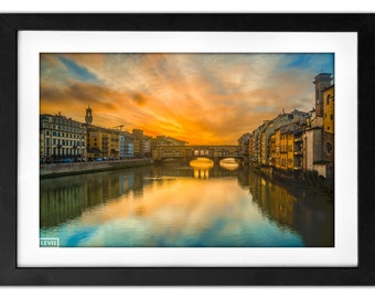 Ponte Vecchio Bridge Landscape Sunrise Photography 8x10 Sun Burst Upon Arno River Florence Italy - Unbelievable Morning