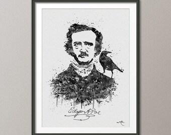Edgar Allen POE Watercolour Painting Print Archival Fine Art Print Wall Decor Art Decor Wall Hanging Library Raven Nevermore Love [NO 458]