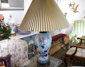 """SALE! Org 125.00 Oriental Lamp & Shade Robin Egg Blue Floral Decorated 28.5""""T"""