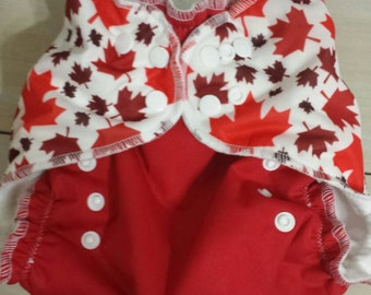 Red and white maple leaf pocket diaper