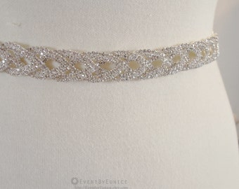 Wedding thin Crystal Belt, Bridal Braided pattern Belt, Wedding Sash, Bridal Sash, Crystal belt, Crystal sash, Bridesmaid Belt,  LOVELY
