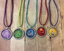 5 Bottle Cap Style Necklaces on Cord, Magnets, Keychains, Zipper Pulls Birthday Party Favor, Inside Out, Minions, or Little Einsteins