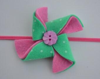 Baby/Girls Mint and Pink Felt Pinwheel Headband - Pinwheel Toddler Headband - Felt Pinwheel Clip - Felt Clip - Felt Headband -