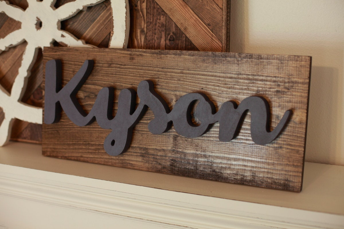 Wood Name Wall Decor : Custom name wood word cutout scroll cut cursive