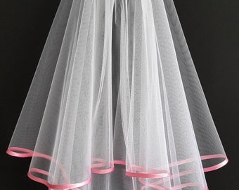 White Wedding Veil, Two Layers, Pink Satin Edging.