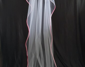 Cathedral Veil,Two Layers, White, Pink Satin Edging.