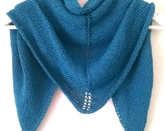 Lace scarf, handknitted, triangle shawl, wool, colour Petrol, women