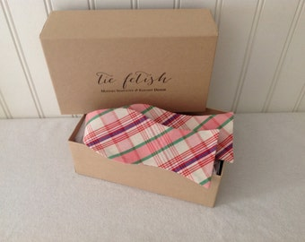 Pink, green, red plaid freestyle bow tie