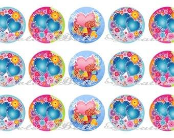 Hearts 1inch Bottle Cap Images
