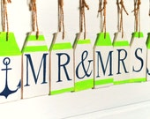 Mr and Mrs banner Wedding sign Nautical banner Wedding decor Custom wooden signs Nursery decoration Buoy tags Wooden buoy