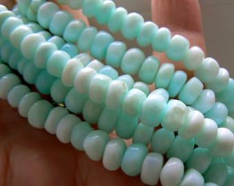Blue Peruvian opal 6mm rondelle beads. Strand 4in. Semiprecious beads supply. Blue opal gemstone