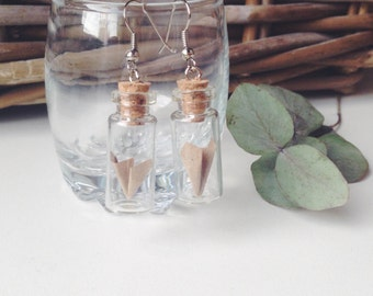 Origami plane earrings 28x11mm with tiny origami plane inside the glass bottle
