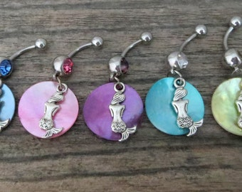 Mermaid Belly Ring with Shimmery Shell, Stainless Steel Barbell - Dangling Body Jewelry, Belly Button Ring Dangle