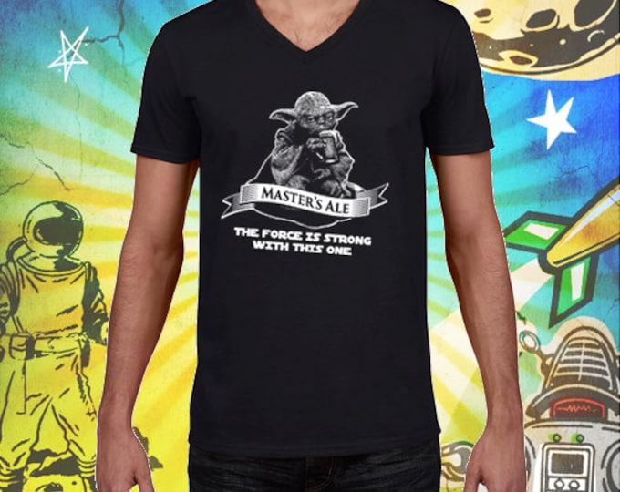 Star Wars Master Yoda Ale Men's V-Neck 100% Cotton Black Men's Craft Beer T Shirt Star Wars Beer Tshirt