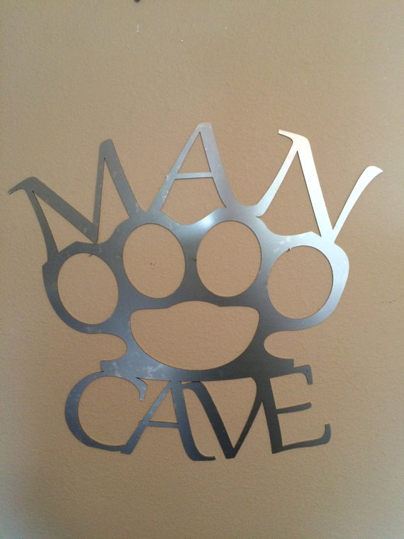 Man Cave Metal Wall Art : Metal wall art man cave brass knuckles cnc by