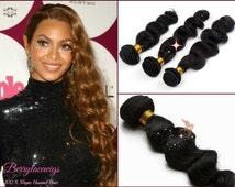 100% Unprocessed Brazilian Virgin Loose Wave Human Hair Weave 3pcs Bundle, Natural hair color. Soft, No tangling and shedding