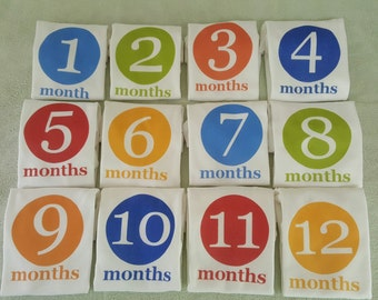 Month By Month Circle colorful onesies
