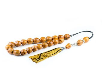 Yellow Nutmeg Seeds Greek Komboloi Worry Beads Tassel 21+3