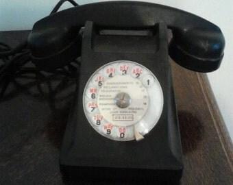 Vintage 1950's Retro French Black Bakelite Telephone