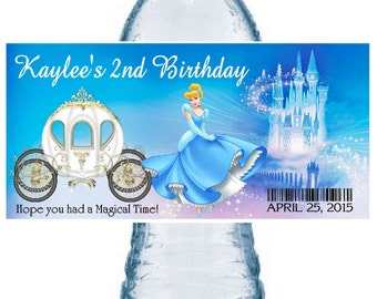 20 CINDERELLA party water bottle labels ~ glossy ~ waterproof ink ~ FREE SHIPPING