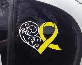 Yellow Awareness Ribbon Heart Scroll Window Decal (Spina Bifida, Adenosarcoma, Ewings Sarcoma, Liver Cancer, Liver Disease, Endometriosis)