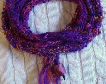 Infinity Scarf/Necklace, Boho Scarf, Hipster Scarf, Hand Knit Scarf, Handknit Necklace, I-Cord Necklace, Purple Scarf, Boho Neckwear, Boho