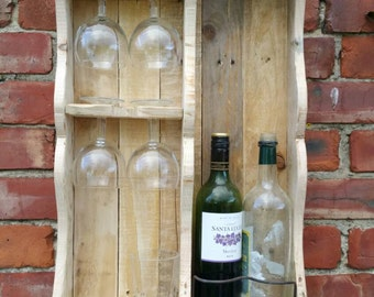 Cottage chic wine rack from reclaimed wood.