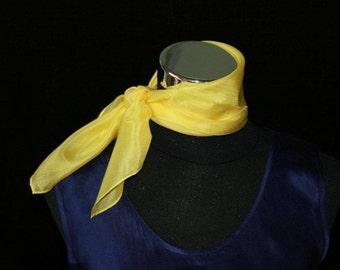 Sunshine Yellow Pure Silk Neckerchief, silk square, pocket square, bandanna, sailing, head scarf (066)