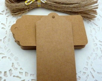 50 Scalloped Brown Kraft Paper Gift Tags Price Tag Crafts 9.5 x 4.5cm