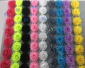 Chiffon Shabby Rose Trim, U Pick Colors, DIY Flower Headbands