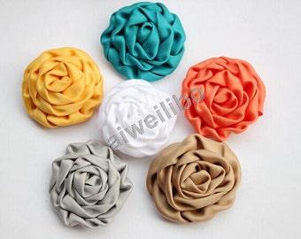 10 pcs Folded Roses, Fabric Flowers, Flowers Applique, Embellishment,Hair Accessory
