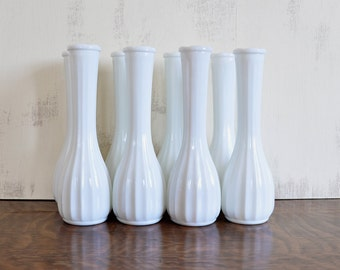 Set of Eight Tall Ribbed Milk Glass Vases, Wedding Decor