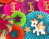 Unicorn Themed Paper Fan Backdrop- Set of 13, Unicorn Birthday, Unicorn Rainbow Birthday, My Little Pony Birthday Backdrop