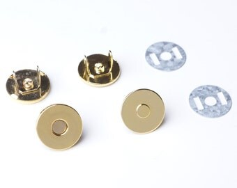 14mm Thin Magnetic Purse Snaps - Gold - 20 Sets