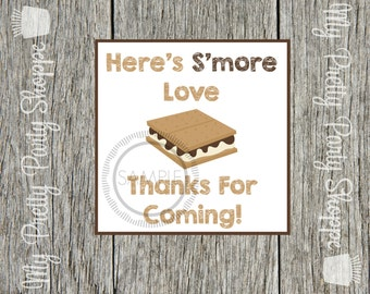 S'more / S'mores Thank You Printable Tags / Labels / Favor Tags / Stickers / *INSTANT DOWNLOAD*