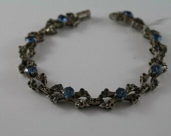 "Vintage Sterling silver, bracelet facetted Blue topaz and rose cut Marcasite stones, lovely raised open panel link 20cm, 8"" bracelet"