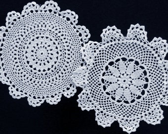 Set of two vintage white round doilies