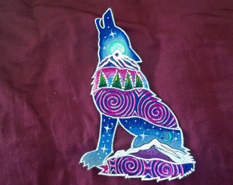 Sacred Wolf hand embroidered silk rayon cotton patch