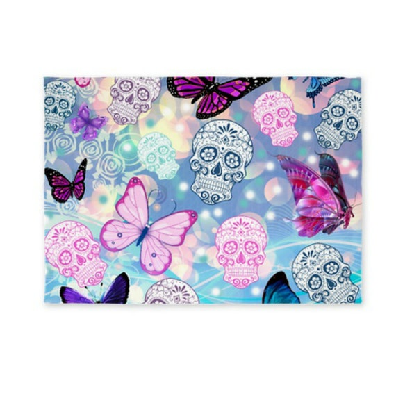Skull Area Rugs: Area Rug Throw Rugs Sugar Skull And Butterflies Dobby Woven
