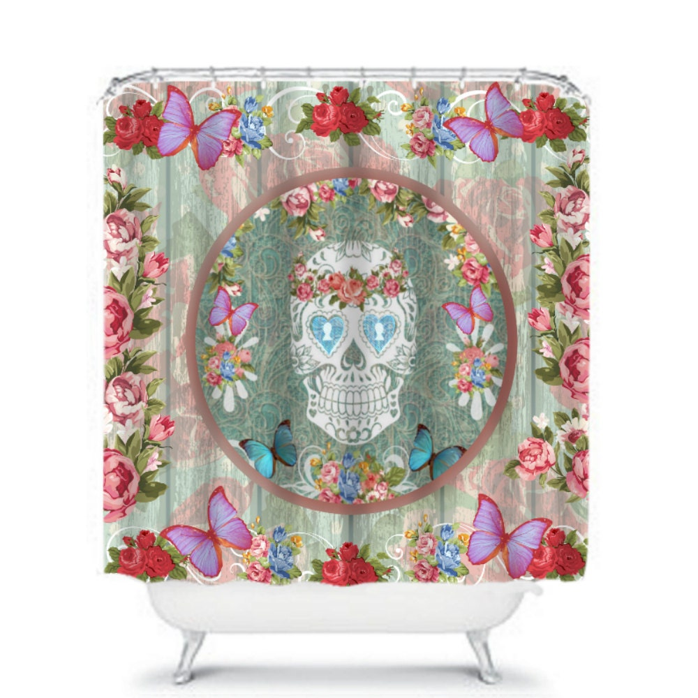 Sugar skull shower curtain shabby chic roses by folkandfunky for Shabby chic rhinestone shower hooks
