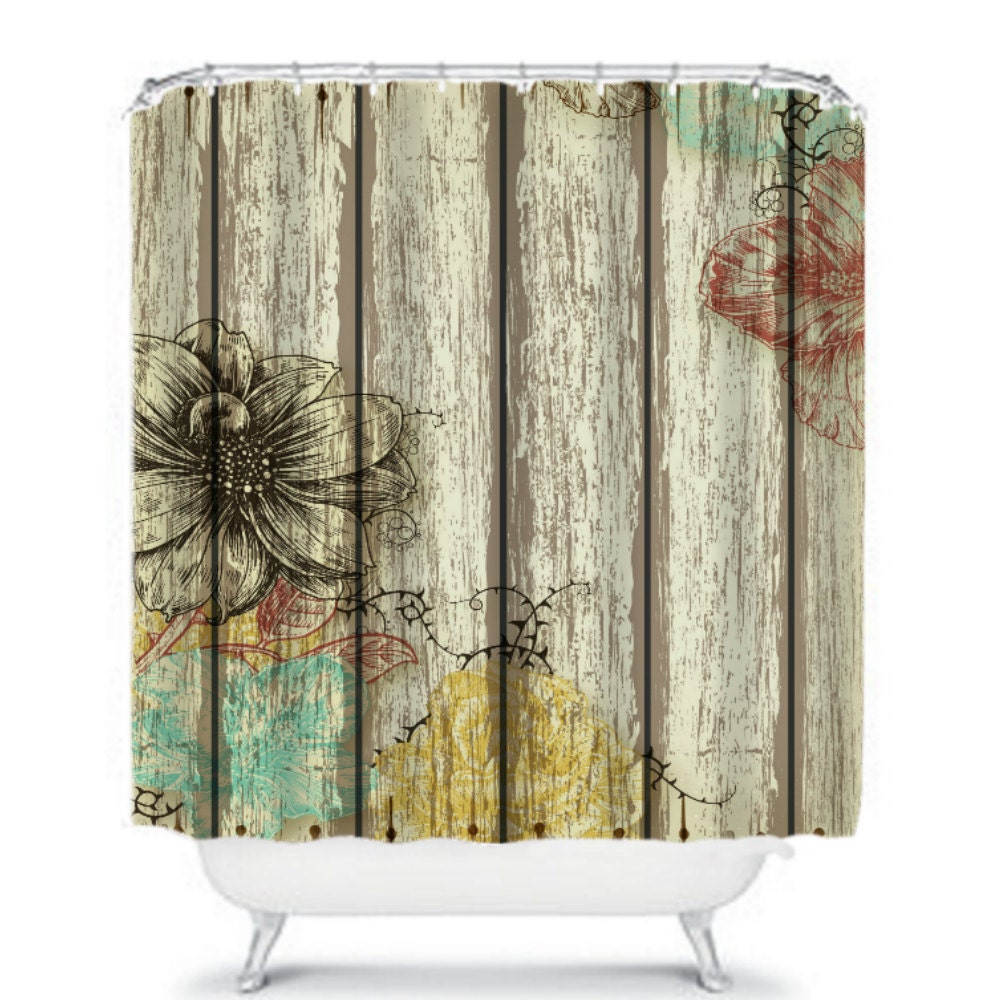 Shower Curtain Rustic Barn Wood Floral by FolkandFunky on Etsy