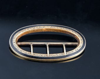 Man's enameled 10k gold stock buckle 18th century