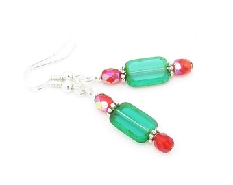 Casual Red and Emerald Green Holiday Earrings, Holiday Jewelry, Christmas Earrings, Christmas Jewelry, Stocking Stuffer