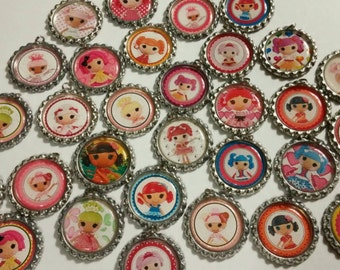 Cute doll bottle caps with jump rings