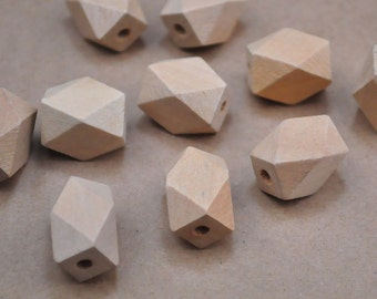 Wooden Beads,Geometric Wood Beads.Geometric Faceted Cube Wooden Beads,Natural Unfinished Unpainted beads--14mm x 22mm.