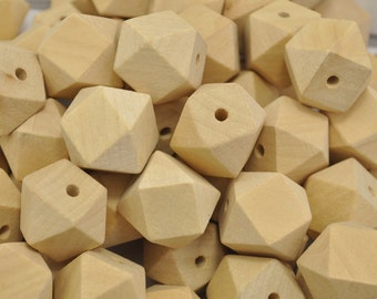 Wood Beads - 20PCS 25mm Faceted Wood Beads 14 Hedron Geometric Figure Wooden beads.