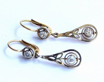 1930, Vintage, Diamond Drop Earrings, 18ct. Yellow Gold and Platinum.