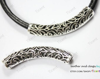 2pcs 6mm Hole Antique Silver Hollowed Tube for Bracelet and Necklace, 50mm Long